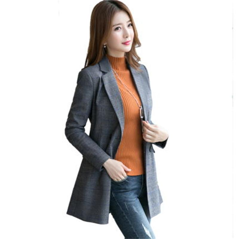 super popular 9358c 13230 Plaid-Blazers-femme-veste-Nouveau-New-British-style-sous-costume-veste-femme -longue-section-mince-occasionnel.jpg