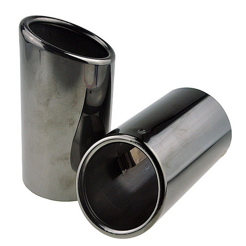 Car Tail Exhaust Tip Pipes 58mm out Stainless Steel Titanium Black 68mm in