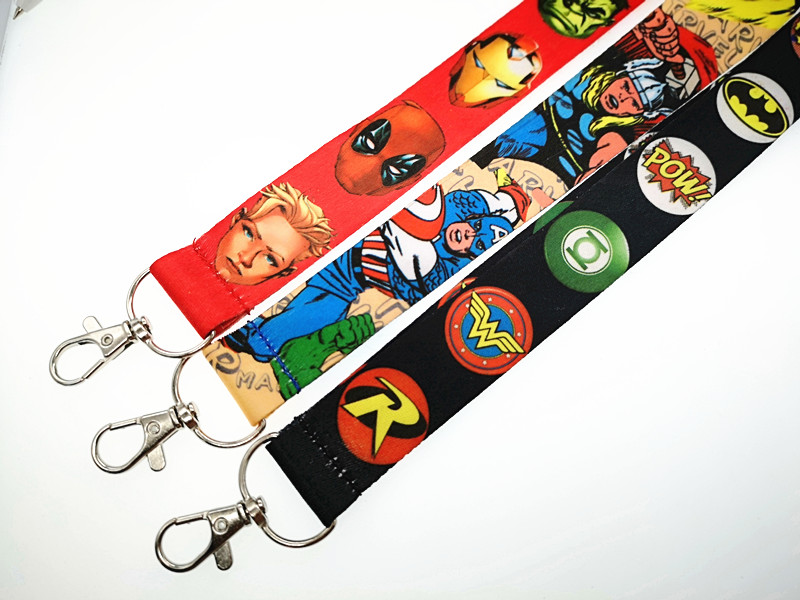 New 1pcs Popular Cartoon Anime Avengers Key Lanyard Badge ID Cards Holders Neck Straps With Keyring Gifts Party Favors