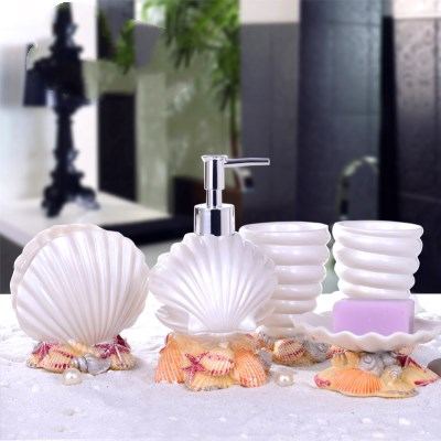5PCS Resin Bathroom Supplies Sets Soap Holder Dispenser Toothpaste Holder Bathroom Products Gifts Home Decorative Accessories