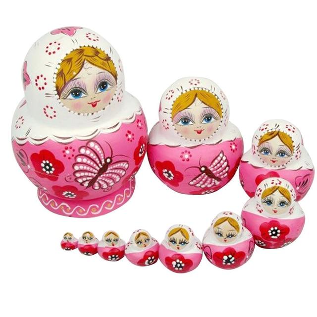 10pcs Wooden Matryoshka Doll Pink Wooden Russian Nesting Dolls Gift