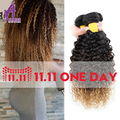 Indian Deep Curly Virgin Hair Bundles Three Tone Ombre Kinky Curly Hair Weave Brown Blonde Burgundy Afro Curly Weave Human Hair