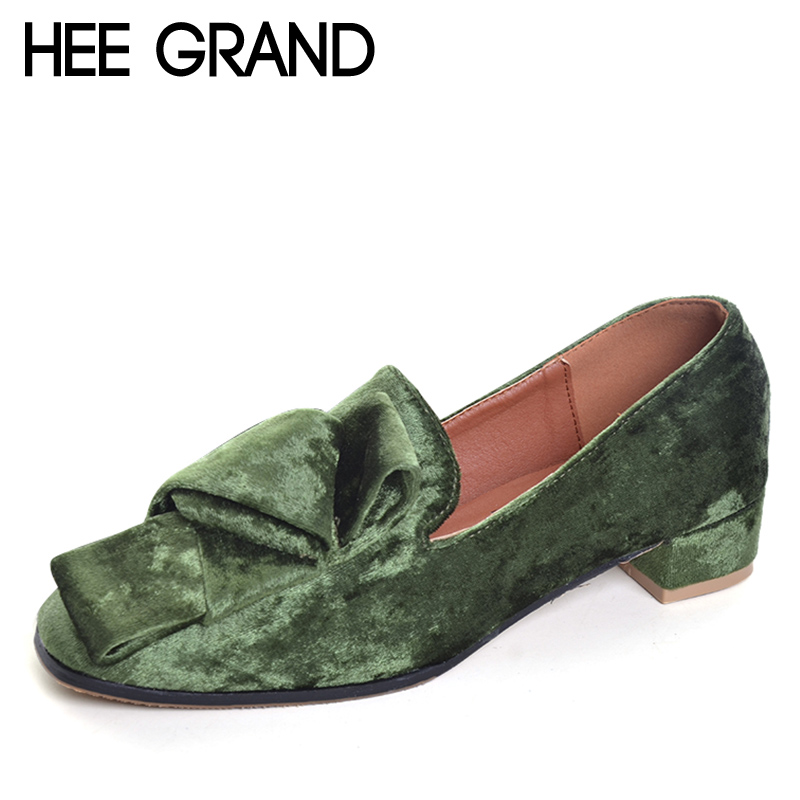 HEE GRAND 2017 Velvet High Heels Slip On Vintage Oxfords Casual Knot Shoes Woman Platform Women Brogue Shoes Size 35-40 XWD5185 hee grand sweet patent leather women oxfords shoes for spring pointed toe platform low heels pumps brogue shoes woman xwd6447