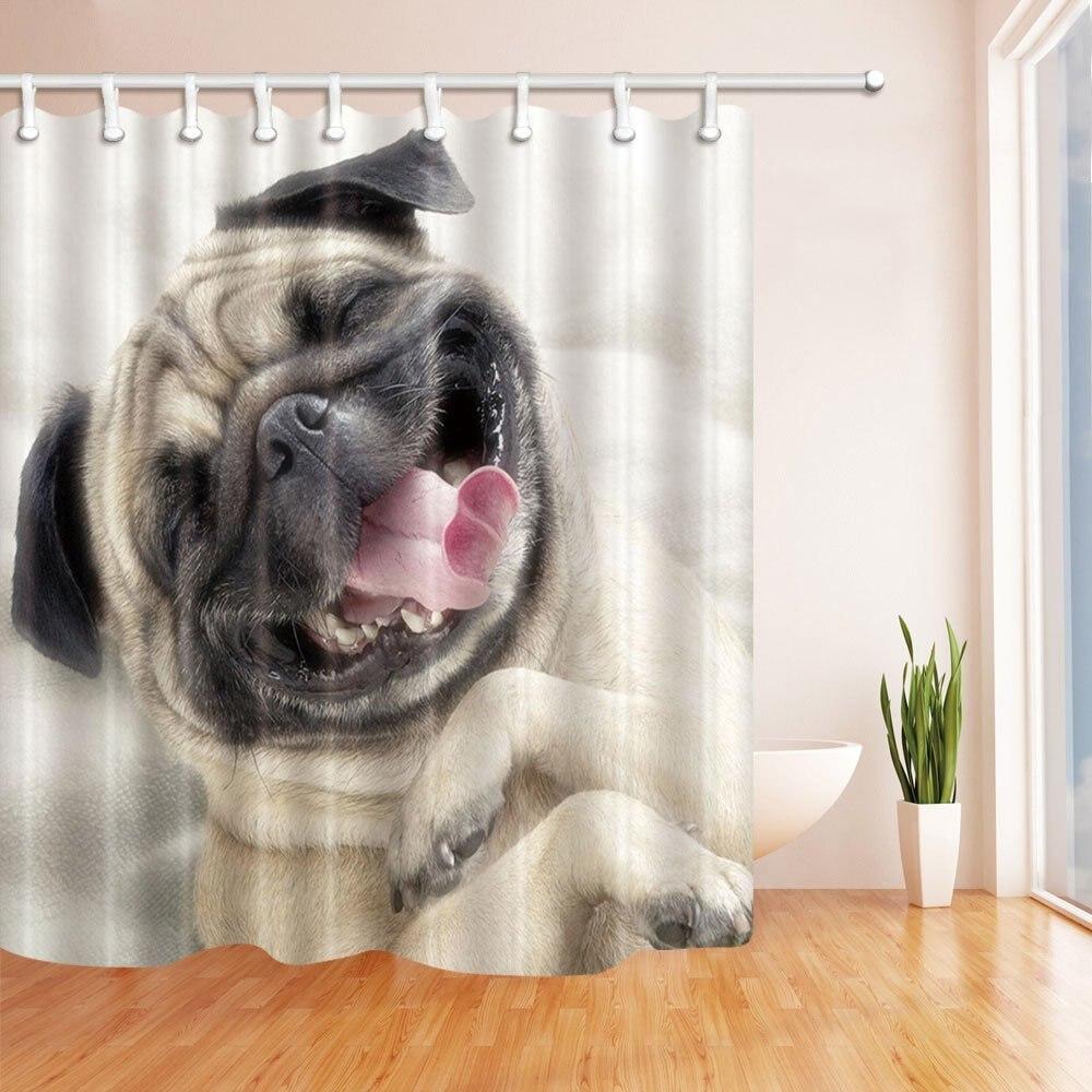 12 hooks shower curtain art decor animals cute pug dog 3d design bath curtains bathroom supplies accessories garden curtains