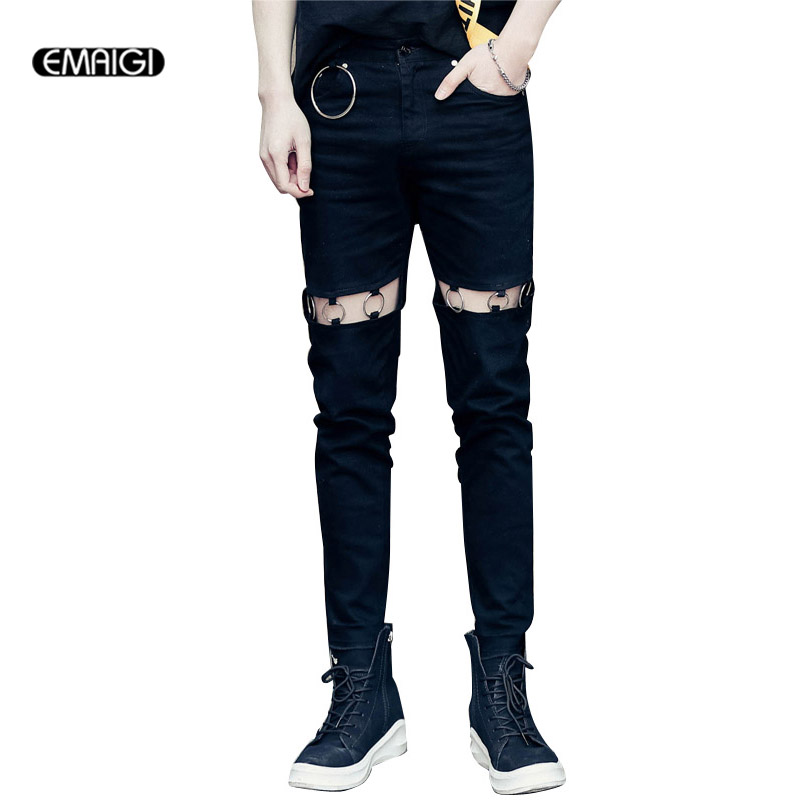 Street Fashion Hiphop Hole Men Slim Fit Jeans Pant High Quality Male Iron Ring Denim Trouser ring denim jeans