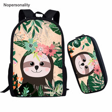 Nopersonality Cute Sloth Backpack Sets for Teenager Boys Girls School Student Kids Bagpack Cool Primary Children Book Bag