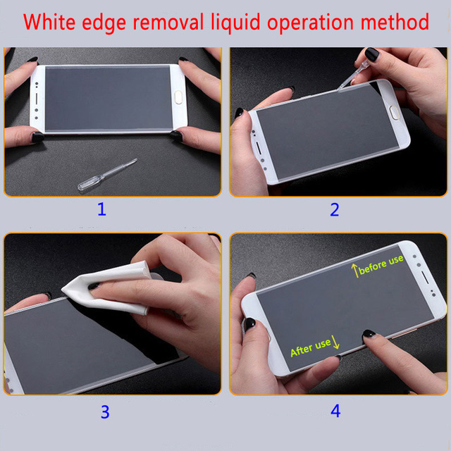 10PCS 2.5D arc edge phone Toughened glass film white liquid oil removing filler, film sticking tool, white edge repairing liquid 4