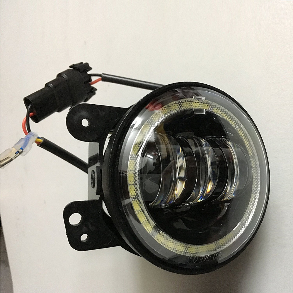 2PCS 4 INCH 30W LED FOG LIHGTS WITH RED DEVIL EYES DRL WHITE AND TURN SIGNAL HALO FOR JEEP JK TJ LJ OFF ROAD FOG LAMPS BLACK