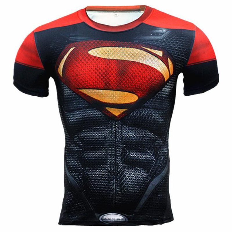 High Quality Summer Muscle Style Cosplay Costume Spiderman Superman BatmanMen Motion T Shirt Compression Tights Tops Sports