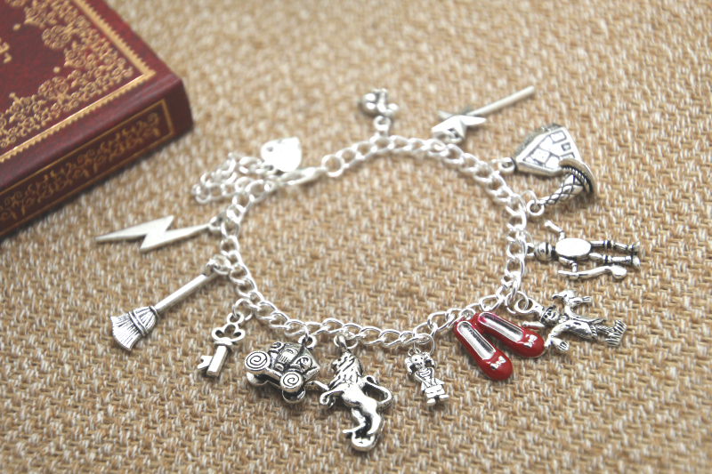 12pcs The Wizard Of Oz inspired charm Bracelet  Multicharm Dorothy