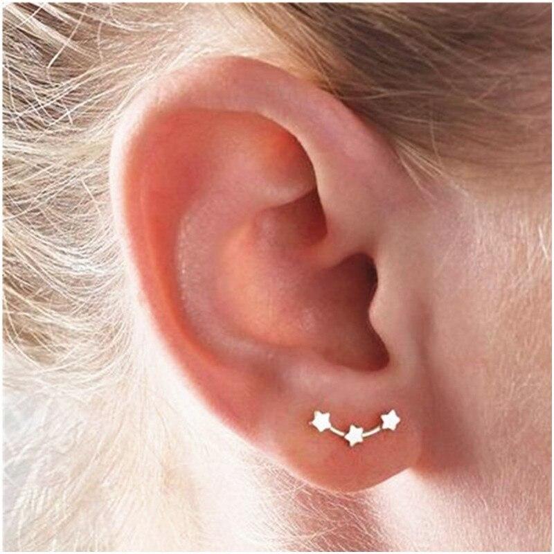 Stainless Steel Star Women Earrings 304 Stainless Steel Golden Silver Plated 3 Merge Star Earrings For Women Fashion Jewelry
