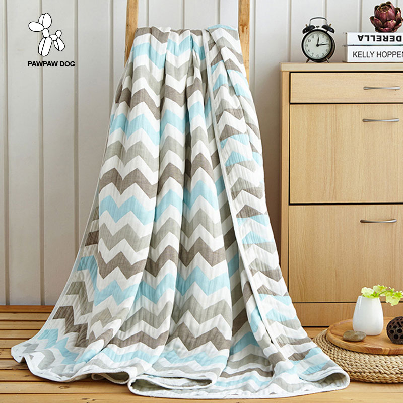 Pawpawdog Striped Blankets Cotton Gauze Blanket for Beds Cover Simple Plaids Sofa For Adults and Children Summer Throw Blankets