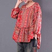Plus Size 2018 ZANZEA Women Red Printed Ethnic Blouse Lantern Sleeve Blusas Floral Shirt Casual Blusa