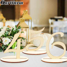 OurWarm 10pcs Fashion Wooden Wedding Party Supplies 1-10/ 11-20 Place Holder Table Number Figure Card Digital Seat Decoration