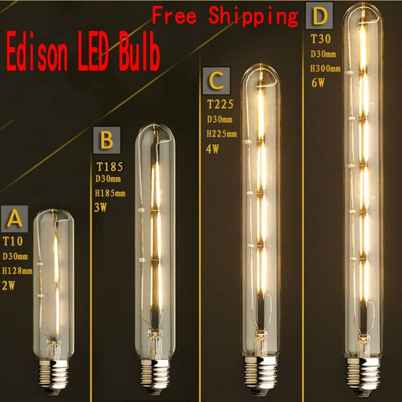 110V- 220V Vintage Antique Retro LED Edison Bulb E27 Tube Light Bulbs 2300K Warm white Filament Edison Lamp(2W 3W 4W 6W) lightinbox good glass bulb lamp candle light lamp e27 e14 antique led edison bulb 220v retro led filament light vintage led