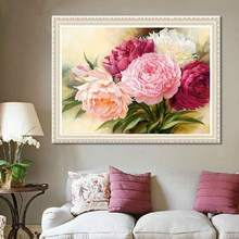 40*30cm 5D Full Diamonds Peony Flowers Embroidery Cross Stitch Kits Household Handmand DIY Decoration Crafts Material Package(China)