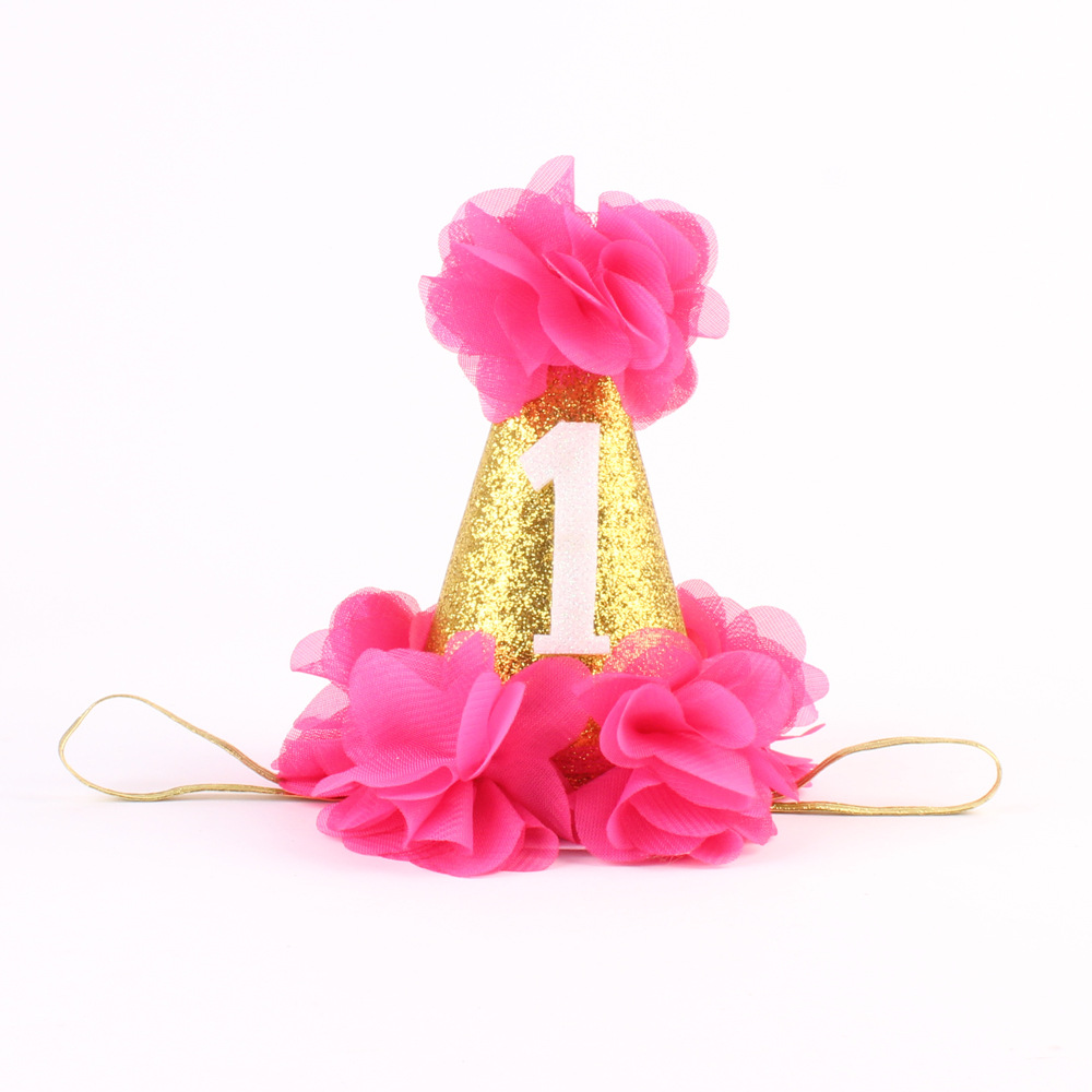Fashion 1st Brithday Hat Fushia Glitter First Birthday Party