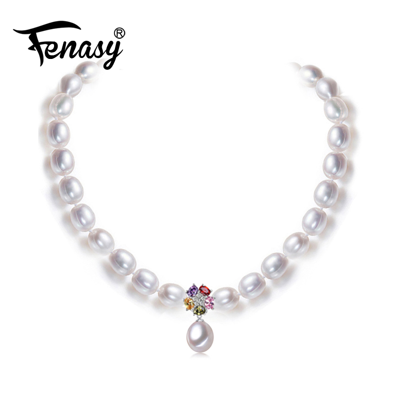 FENASY Pearl Jewelry,natural pearl necklaces for women,Bohemian romantic flower pendant necklace for women wedding jewelry 60pcs lot 2017 retro key dry flower necklace natural wheat flower glass ball pendant jewelry accessory butterfly necklaces