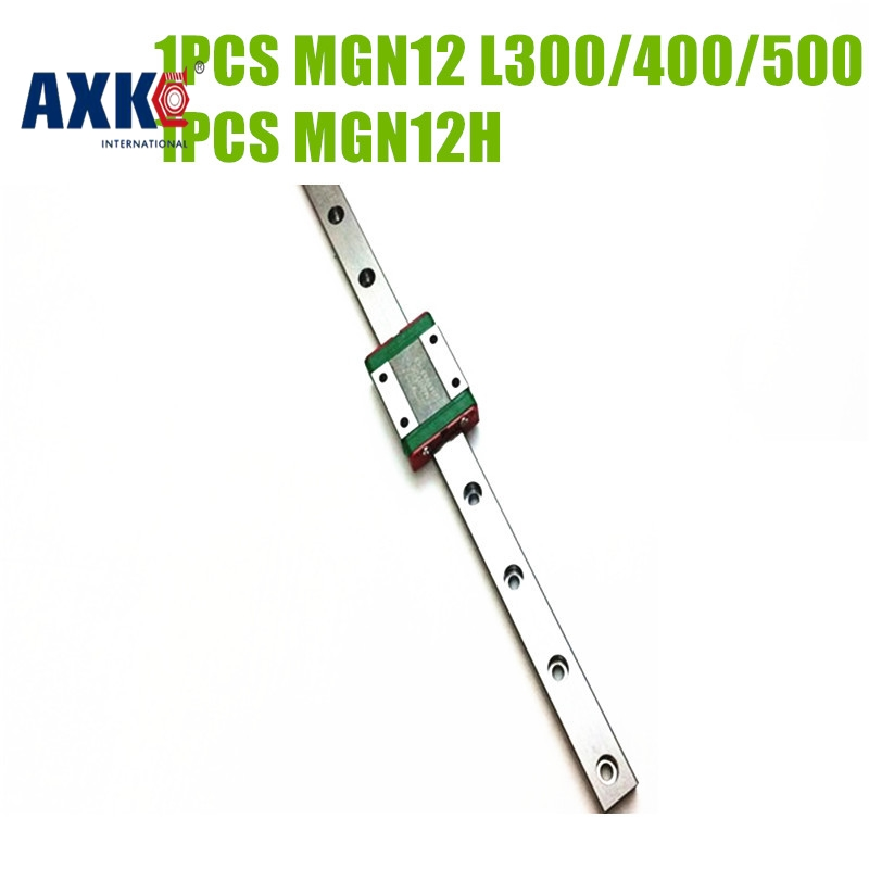 Axk 12mm Mgn12 + 320 400 500 600 Mm Linear Rail Way Carriage Guide With Mgn12c Or Mgn12h For Kossel Cnc 3d X Y Z Axis axk mr12 miniature linear guide mgn12 long 400mm with a mgn12h length block for cnc parts free shipping