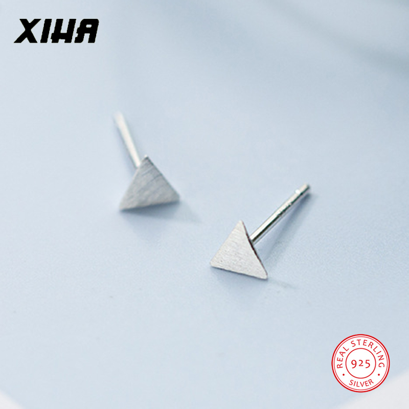 XIHA 925 Sterling Silver Earrings for Women Simple Small Tiny Geomtric Triangle Stud Earring Girl Earings Fashion Jewelry 2018