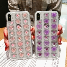 Cute 3D Love Heart Dried Flower Glitter Phone Case for iphone X XS XR Max 6 6S 7 8 Plus Real Soft TPU Back Cover