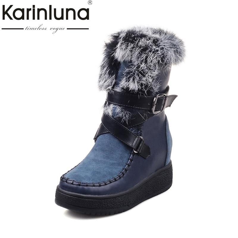 где купить KARINLUNA New Arrival Size 33-40 Buckle Up Platform Women Shoes Casual Height Increasing Warm Rabbit Fur Snow Boots Woman Winter по лучшей цене
