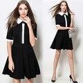 Европа новая весна кукла воротник dress shirt sleeve dress в черно-белом женщина black dress