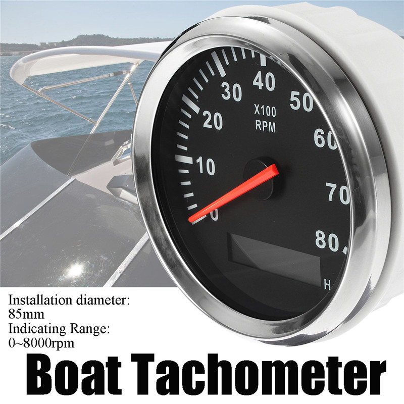 Boat Tachometer Marine Tacho Meter Gauge LCD Hourmeter 12V/24V 8000 RPM 85mm Boat Tachometer digital led punch tachometer rpm speed meter 5 9999rpm tacho gauge hall proximity switch sensor 12v 8 15v red