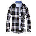 Mens Flannel Plaid Shirts 2015 New Men Shirt Long Sleeve Slim Fit Famous Brand Plaid Shirt Men Cowboy Style Remeras Hombre