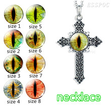 Bible Cross Necklace, Colorful Evil Dragon Eye Photo Glass Cabochon Silver Plated Necklace Natural for Christian Gifts
