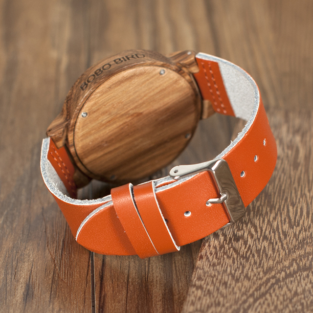 Reloj de madera amarillo pulso de cuero naranja unisex 3