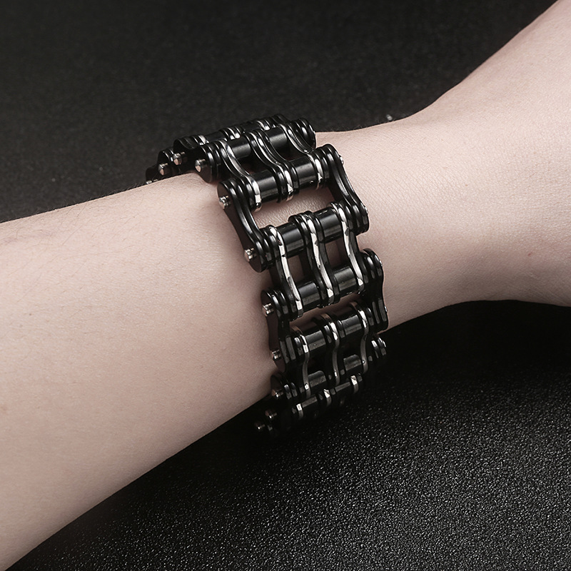 Image 3 - Punk Big Stainless Steel Bicycle Chain Purple Black Bracelets & Bangles Motorcycle Chain Bracelet Men Biker Jewelry Wholesale-in Chain & Link Bracelets from Jewelry & Accessories