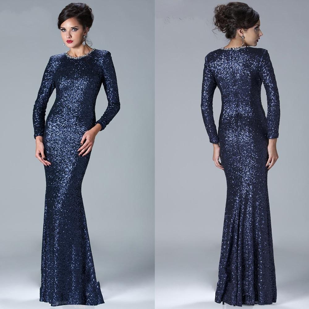 Vintage sequin dark navy blue evening dress long sleeve for Navy evening dresses for weddings