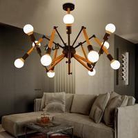 Гибкая массивная деревянная лампа паук скандинавский, простой, современный Кофейня подвесные светильники для бара конференц зала креативн