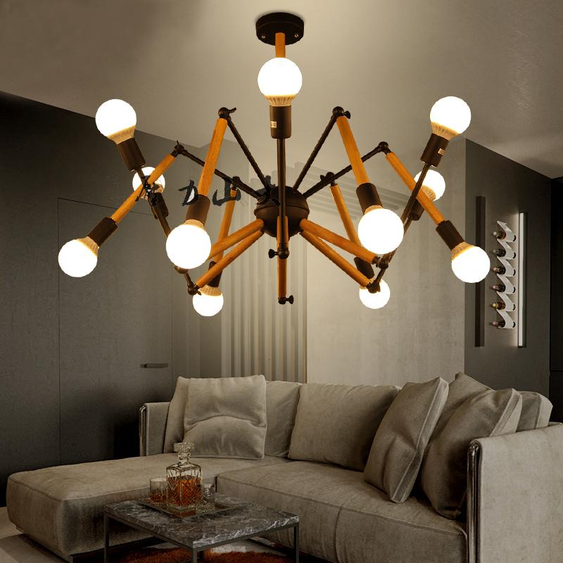 flexible solid wood lamp spider Nordic simple modern coffee shop bar pendant lights conference room creative ZX4275