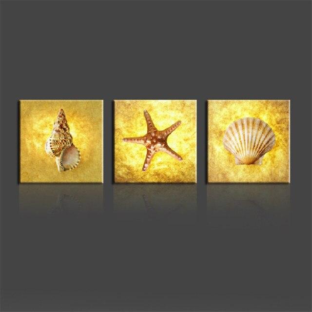 3 Piece Art Set Keong Kerang Dan Bintang Laut Dinding Gambar Modern