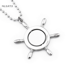 MCSAYS Hip Hop Jewelry Rotatable Rudder Pendant 30 inch Bead Chain Anchor Rudder Helmsman Necklace Mens Fashion Accessories 4HP