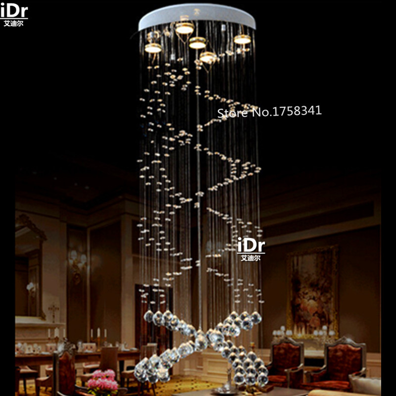 Double spiral staircase lamp K9 crystal chandelier lamp living room lamp Ceiling crystal lamp Bedroom lights чехол флип кейс promate tama s5 оранжевый