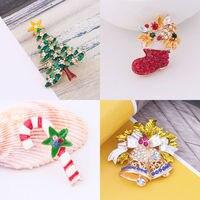 New festival Crystal Rhinestone Enamel Tree Bell Shoe Crutch Brooch Christmas Gift