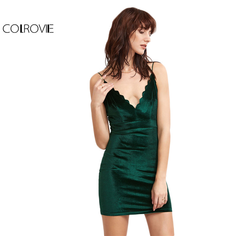 Colrovie party sexy summer dress slip tight short dress verde vieira v profundo