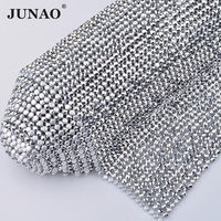 JUNAO 45*120cm Sew On Silver Crystal Rhinestones Trim Banding Aluminum Mesh Resin Strass Beads Applique For Clothes Garment