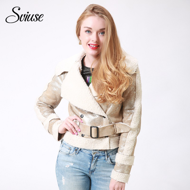 2017 Fashion Autumn Women Short Jacket Coat Winter warm Fur Collar Long Sleeve Jacket Female Belt Patchwork Casual Outerwear