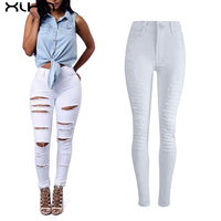 White Black Women Denim Trousers 2017 New Fashion Ripped Cropped Sexy Pants High Waist Jeans Women