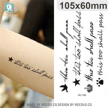 Body Art waterproof temporary tattoos paper for men women fashion 3d English letter design flash tattoo sticker HC1134
