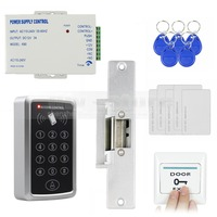 DIYSECUR 125KHz RFID Reader Password Keypad Access Control System Full Kit Set + Electric Strike Door Lock + Power Supply