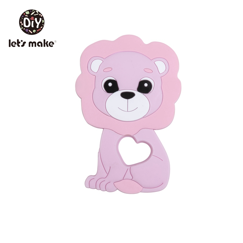Купить с кэшбэком Let's Make 1pc Baby Teether Bpa Free Silicone Animal Lion Baby Teething Toys For Teeth Diy Necklace Food Grade Silicone Teethers