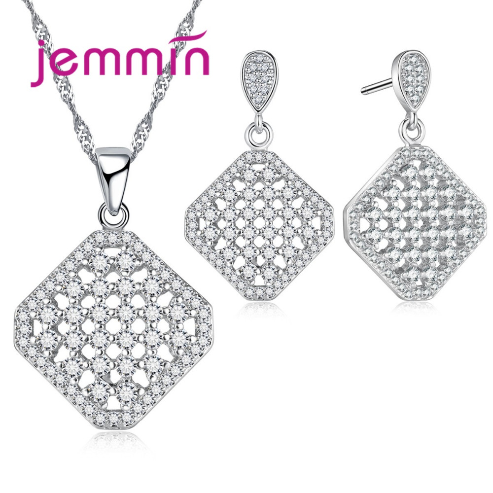 Jemmin Wonderful White Crystal Pave Pendant Necklace and Stud Earrings 925 Sterling Silver Women Wedding Jewelry SetJemmin Wonderful White Crystal Pave Pendant Necklace and Stud Earrings 925 Sterling Silver Women Wedding Jewelry Set