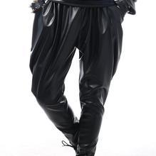 Czarny piosenkarka kostiumy Harem spodnie modne spodnie mężczyzn złoty spodnie męskie etapie spodnie luźne cekiny harem spodnie męskie zapewniają niestandardowe tanie tanio Pełnej długości Elastyczny pas Hip Hop Faux leather Poliester Suknem Mieszkanie 0-null Kieszenie Midweight Mid-Rise Novelty