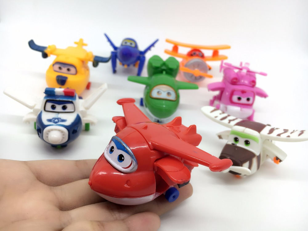 ФОТО 1pc super wings mini airplane abs robot toys action figures super wing transformation animation children kids gift have stock