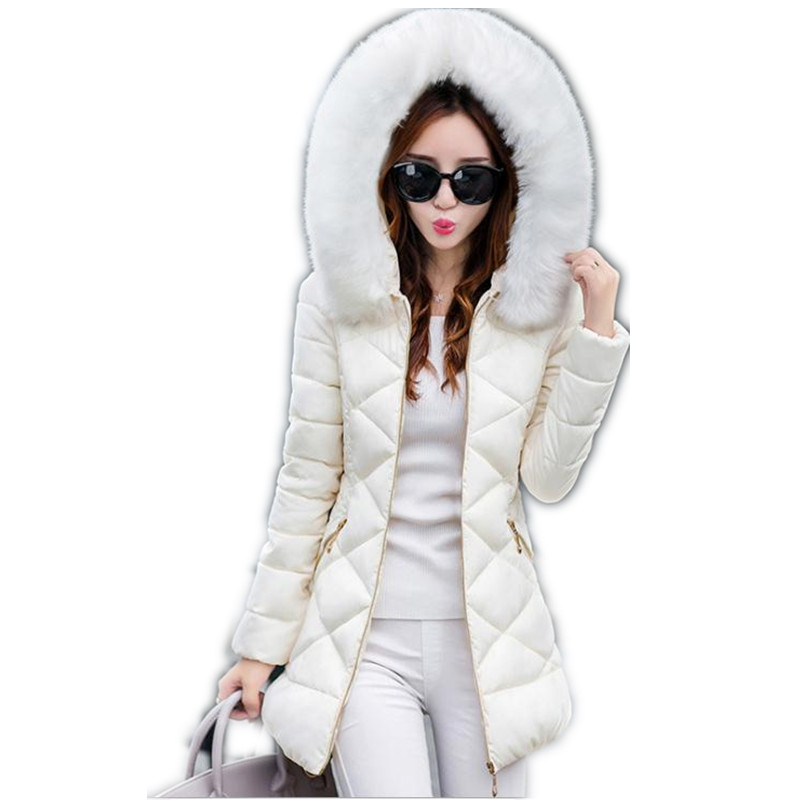 2017New Simple Winter&Autumn Down Cotton Medium-Long Jacket Parka Female Hooded Fur Collar Slim Outerwear Cotton Warm ParkaCQ536 new 2015 autumn winter outdoors medium long fleece jacket fur hooded army green parka men thickening coat 10